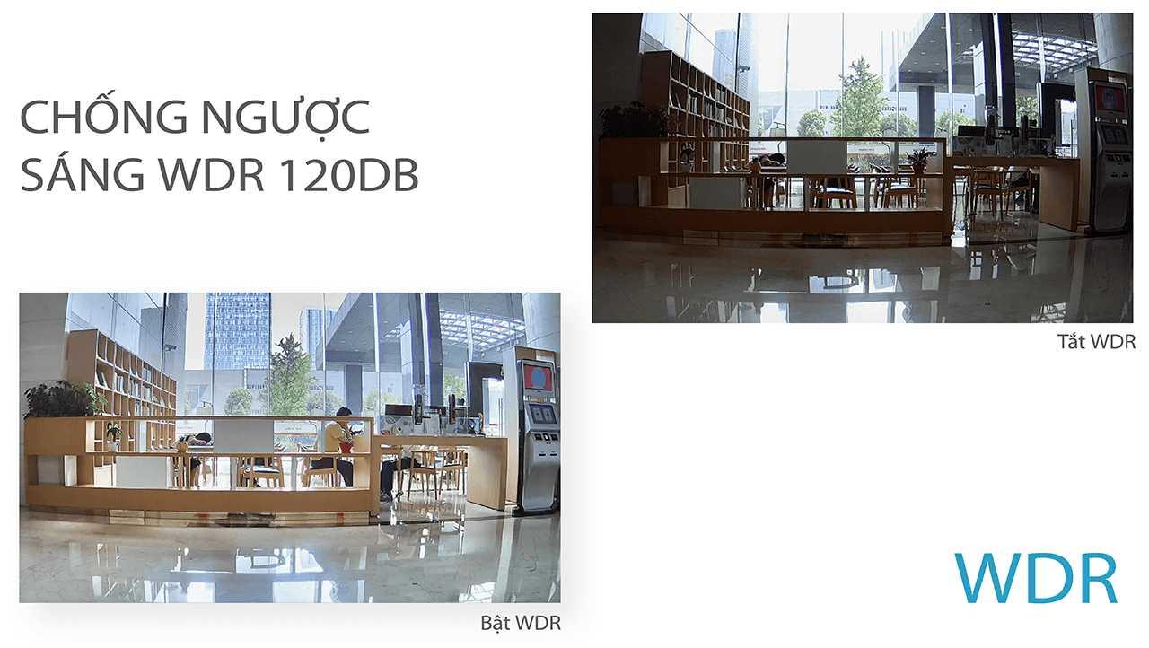 Công nghệ chống ngược sáng (WDR) cho phép camera vẫn duy trì tốt chất lượng hình ảnh ngay cả trong điều kiện ánh sáng khắc nghiệt